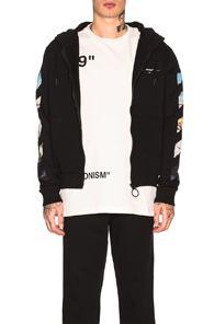 Off-white Diagonal Colored Arrow Zip Hoodie In Black