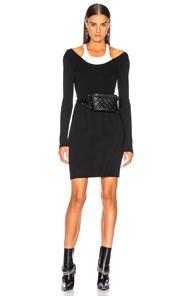 T By Alexander Wang Bodycon Bi Layer Mini Dress In Black,white