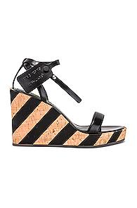 Off-white Striped Wedge Sandal In Black,neutral,stripes
