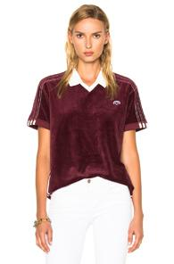Adidas By Alexander Wang Velour Polo In Red