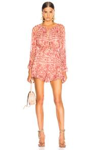 Zimmermann Castile Flared Sleeve Playsuit In Abstract,floral,orange,pink