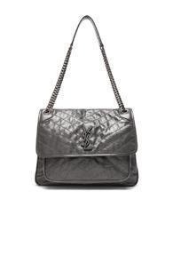 Saint Laurent Large Monogramme Niki Chain Bag In Gray