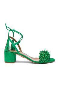 Aquazzura Suede Wild Thing Heels In Green