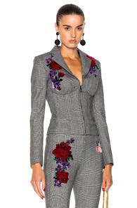 La Perla Prince Of Wales Corset Jacket In Gray,checkered & Plaid,floral