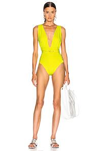 Nicholas Plunge Ruched Swimsuit In Yellow