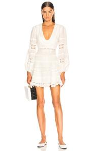 Zimmermann Castile Plunge Dress In White
