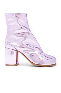 Maison Margiela Leather Tabi Boots In Pink,metallics