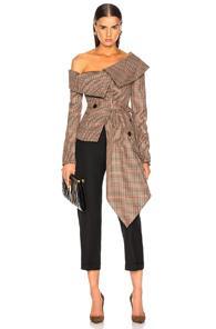 Monse Off Shoulder Jacket In Brown,neutral,plaid