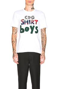 Comme Des Garcons Shirt Boys Graphic Tee In White