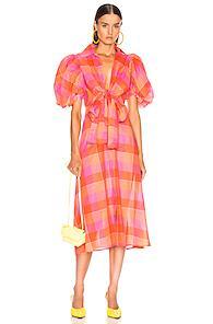 Silvia Tcherassi Perth Dress In Orange,plaid,pink