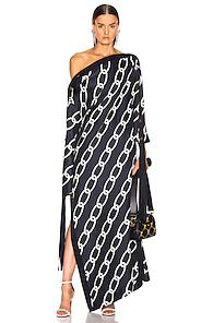 Monse Chain Print Caftan Dress In Abstract,blue