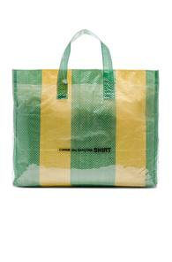 Comme Des Garcons Shirt Pvc Picnic Tote In Stripes,yellow,green