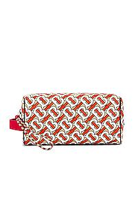 Burberry Monogram Washbag In Abstract,orange
