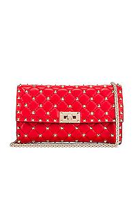 Valentino Rockstud Spike Shoulder Bag In Red