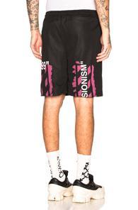 Off-white Diagonal Stencil Mesh Shorts In Black