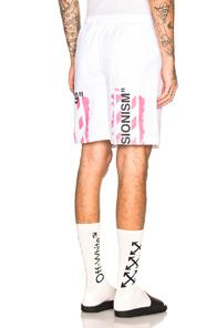Off-white Diagonal Stencil Mesh Shorts In White