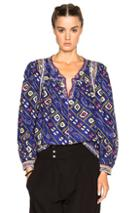 Isabel Marant Tyron Embroidered Printed Silk Blouse In Blue,abstract