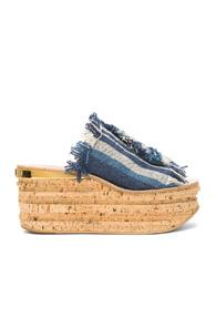 Chloe Stripy Canvas Camille Wedges In Blue,stripes