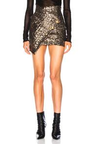 Redemption Asymmetric Sequins Skirt In Metallic