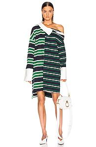 Monse Striped Shifted Rugby Dress In Green,stripes