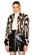 Carven Faux Fur Jacket In Animal Print
