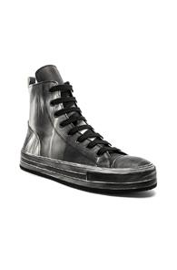 Ann Demeulemeester Leather Hi-top Sneakers In Black