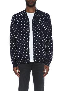 Comme Des Garcons Play Dot Print Wool Cardigan With Black Emblem In Blue,geometric Print