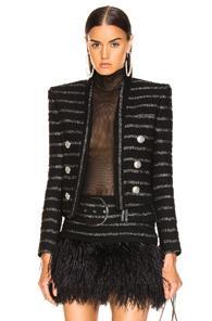 Balmain Tweed Stripe Blazer In Black,metallic,stripes