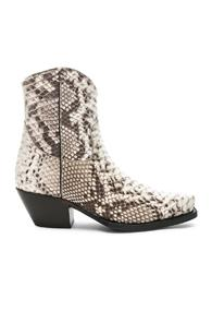 R13 Snakeskin Embossed Cowboy Ankle Boots In Brown,animal Print