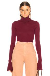 Victoria Beckham Sheer Rib Polo Neck Top In Purple,red