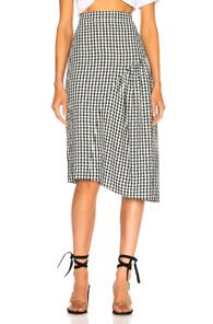 Tibi Boatneck Midi Skirt In Checkered & Plaid,black,white