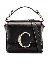 Chloe C Mini Box Bag In Black