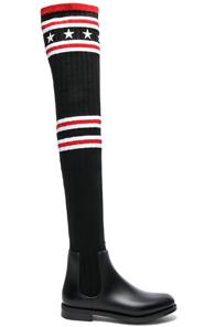 Givenchy Rib Knit Over The Knee Sock Boots In Black,stripes