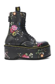 R13 Leather Double Stack Boots In Black,floral