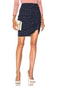 Veronica Beard Spencer Zipper Skirt In Blue,floral