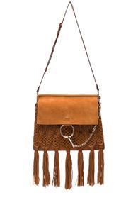 Chloe Medium Braiding & Tassels Faye Shoulder Bag In Brown