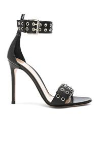 Gianvito Rossi Leather Buckle Ankle Strap Sandals In Black