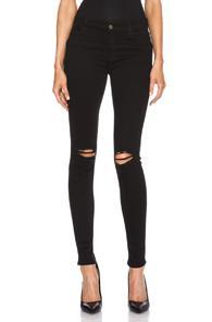 J Brand Super Skinny Distress Knee In Black