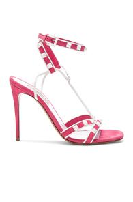 Valentino Free White Rockstud Ankle Strap Sandals In Pink