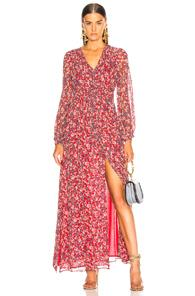 Nicholas Blossom Smocked Maxi Dress In Floral,red