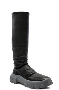 Rick Owens Stretch Leather Hiking Socks In Black