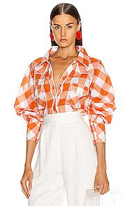 Johanna Ortiz Mountains Of Sonora Top In Plaid,orange