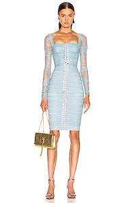 Dolce & Gabbana Ruched Long Sleeve Dress In Blue