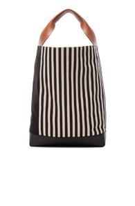 Marni Canvas Stripe Shoulder Bag In Stripes,black,white