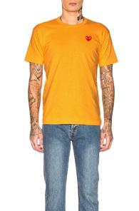 Comme Des Garcons Play Red Heart Emblem Tee In Orange