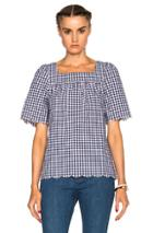 A.p.c. Colette Top In Blue,checkered & Plaid