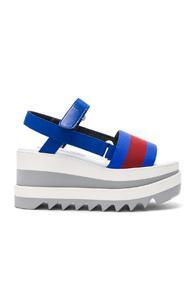 Stella Mccartney Platform Wedge Sandals In Blue
