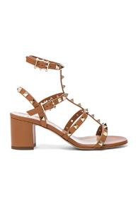 Valentino Leather Rockstud Sandals In Brown