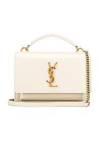 Saint Laurent Sunset Monogramme Crossbody Bag In White
