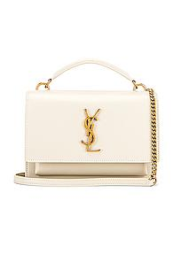 Saint Laurent Sunset Monogramme Crossbody Bag In White